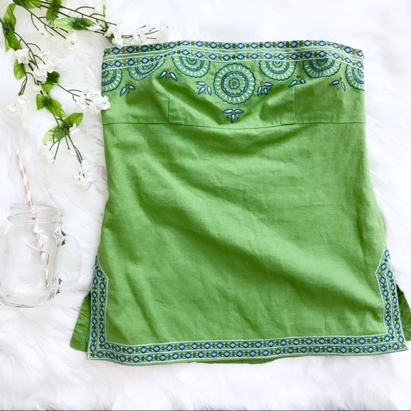 J. Crew Factory Tops - J. Crew Green Embroidered Tube Top